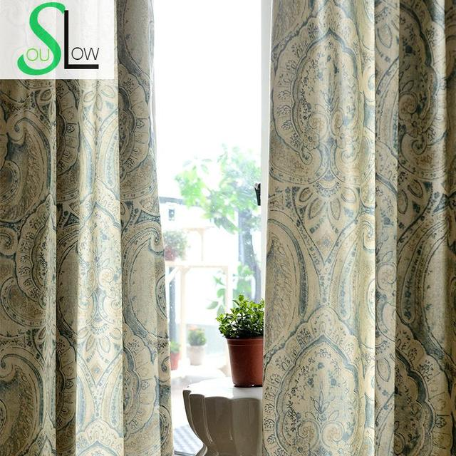 Slow Soul Totem Modern Minimalist Printing Jacquard Window Curtain Curtains  Living Room Sale Chinese Vorhang Luxus