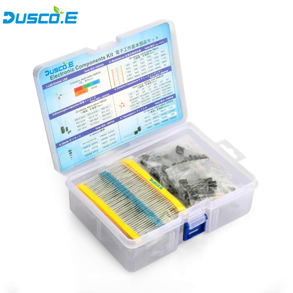 electrolytic capacitor Electronic Component Kit Total 1390 Pcs LED Diodes 30 Values Resistors 12 Kinds Electrolytic Capacitor Pack TO-92 Transistor Box (1)