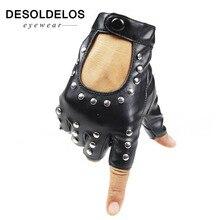 DesolDelos Women Rivets PU Leather Gloves Semi-Finger Mens Rivet Belt PU Gloves Sexy Cutout Fingerless Gloves R007 women rivets leather gloves semi finger mens rivet belt pu gloves sexy cutout fingerless gloves