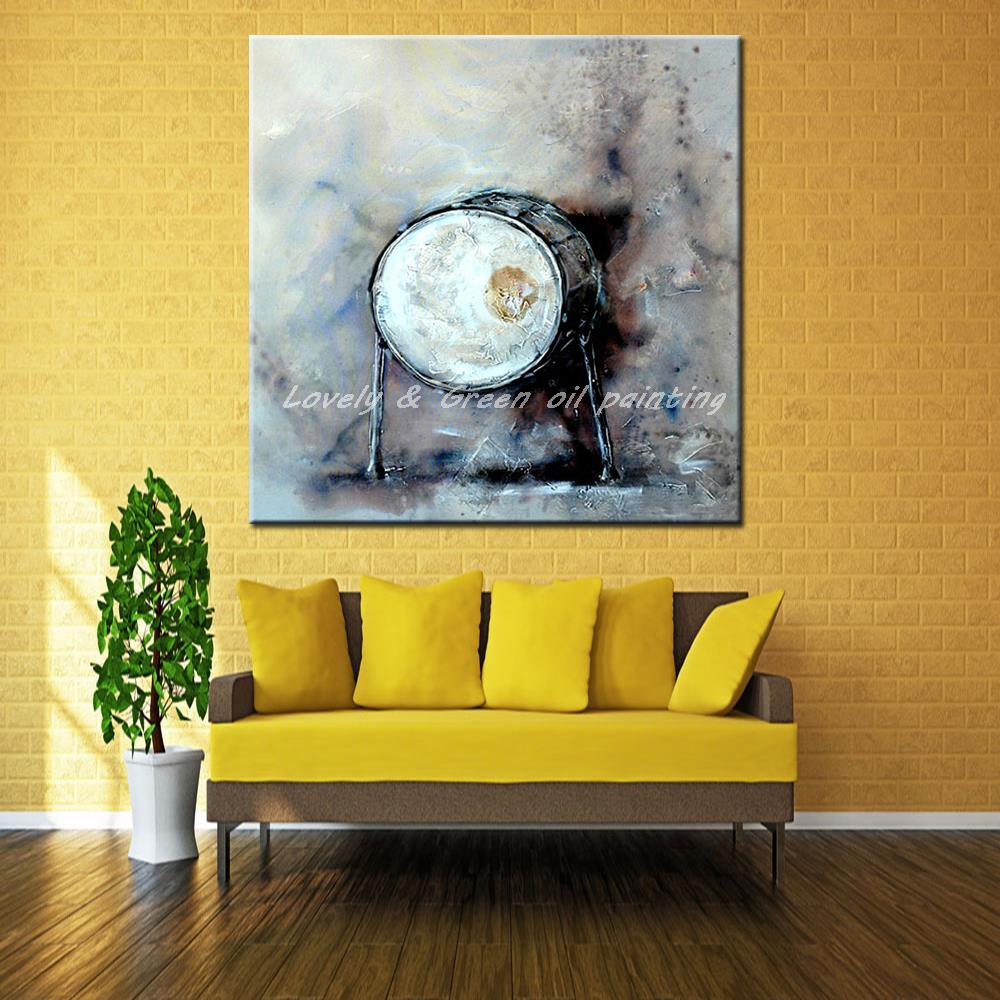 Jazz Drum Hand Painted Modern Abstract Canvas Oil Painting Wall Art ...