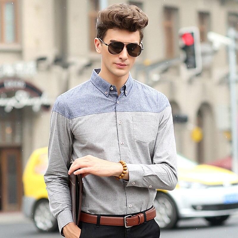 Men Shirts Long Sleeve Patchwork Burr Pattern Spring Slim Fit Men ...