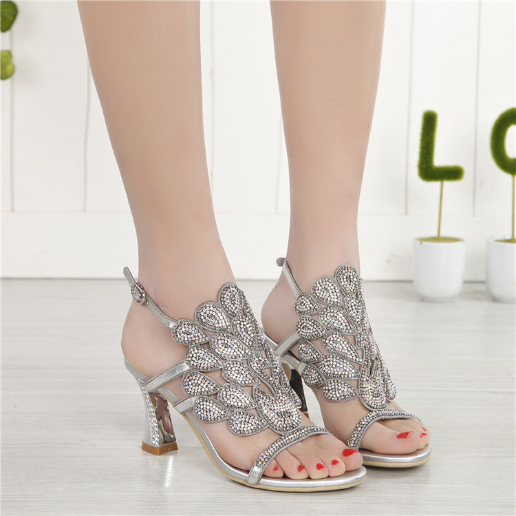 G-sparrow 2018 Summer Korean Rhinestone Slipper Silver Elegant Wedding Shoes Womens Crystal High Heel Sandals4