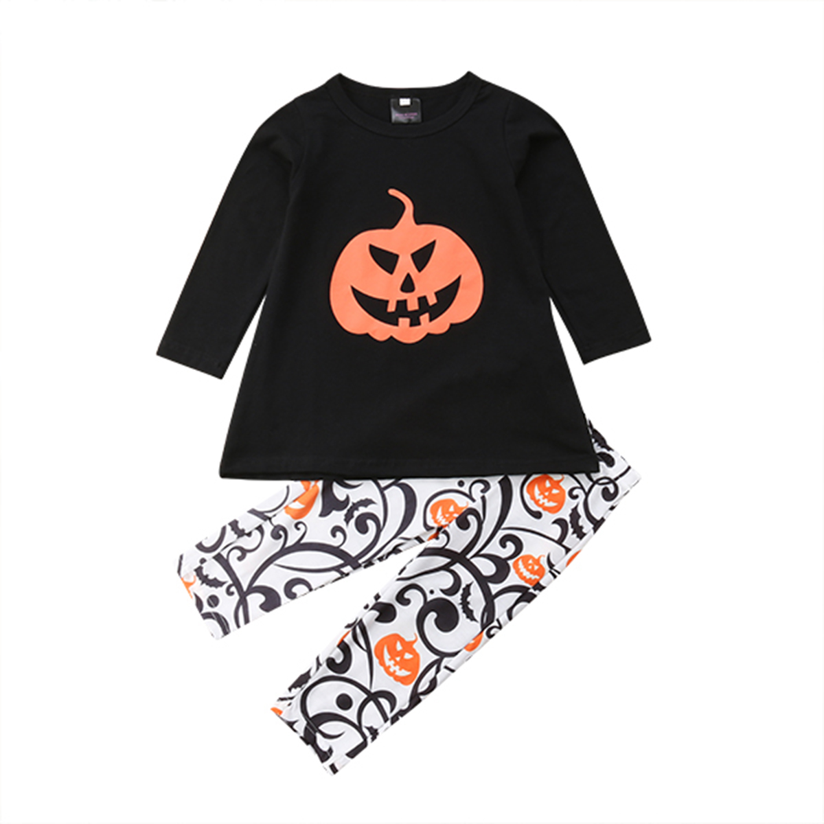 a32eaa77a245 Family Matching Long Sleeve Pumpkin Print T shirt Tops Pants Mom Kid ...