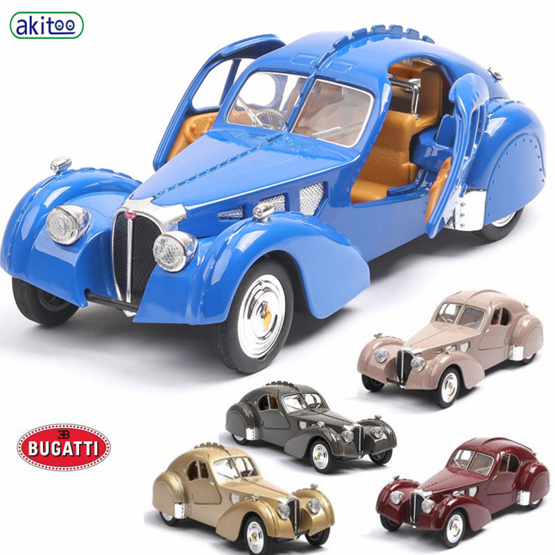 Akitoo Bugatti 57SC Classic Car Model Antique Car Model Simulation Car Model Bugatti Car Toy Sound And Light Gift #2406