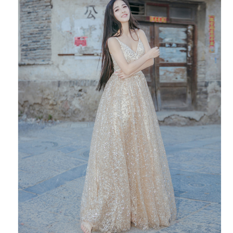 Runway Design Luxury Gold Beads Mesh Long Dress Elegant V-neck Women Sexy Exquisite High Quality Maxi Beach Party Women Dresses