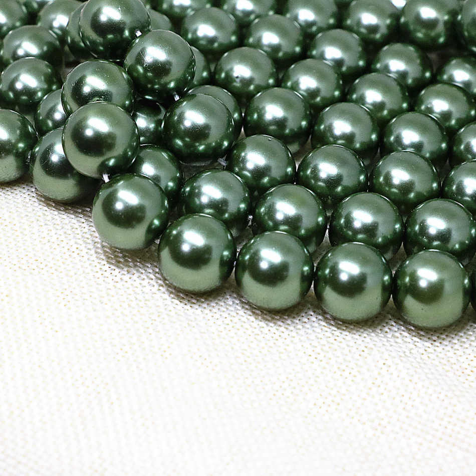Hot sale 4-14mm beautiful green imitation shell pearl round loose beads women party weddings gifts jewelry making 15inch B1605