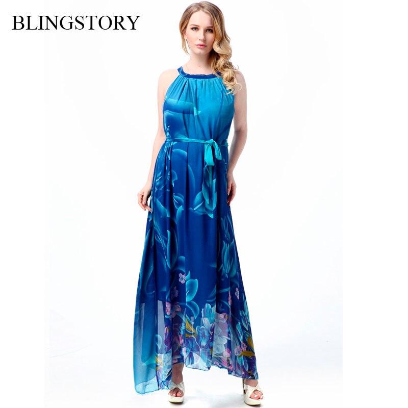 5bba5f0758 BLINGSTORY elegancki kwiatowy druku czechy duże kobiety rozmiar lato chifon  długa sukienka 6XL 7XL 5XL M-7XL CM7034