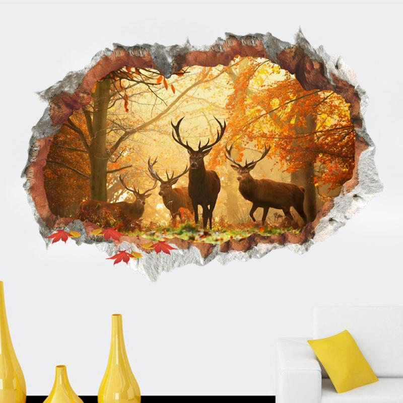Chrismas 3D Broken Wall Sunset Scenery Forest Horse Household Adornment Can Remove The Wall Stickers 50*70CM Drop Ship