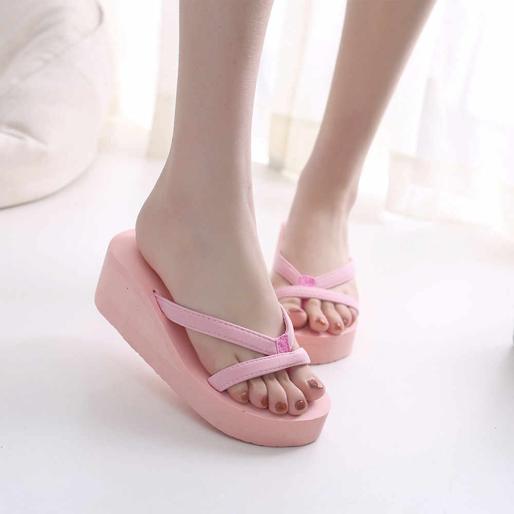 e2ba322810d Women s Summer Fashion Slipper Flip Flops Beach Wedge Thick Sole Heeled Shoes  Indoor Bedroom Slippers girl