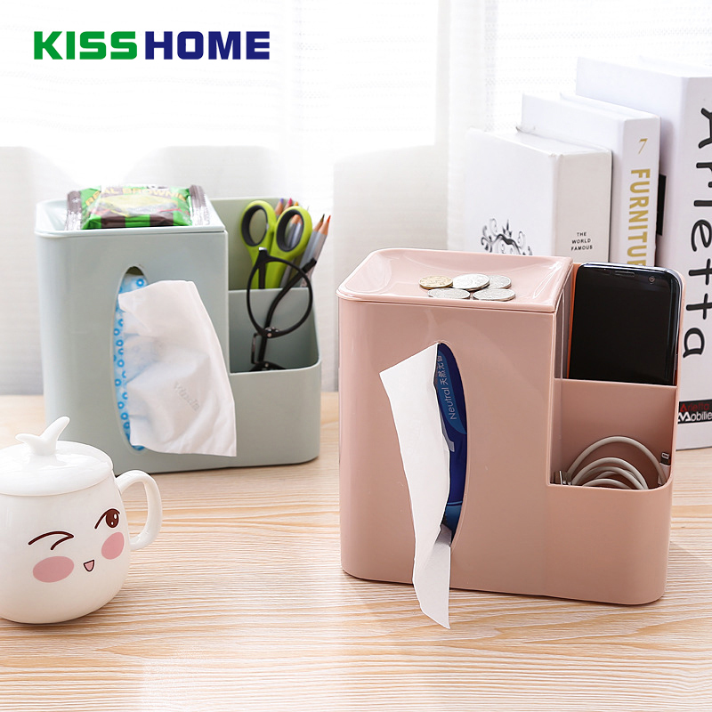 3 Color Creative Desk Tissue Remote Control Storage Box Plastic Multi-function Sundries Boxes for Bathroom Office Coffee Table