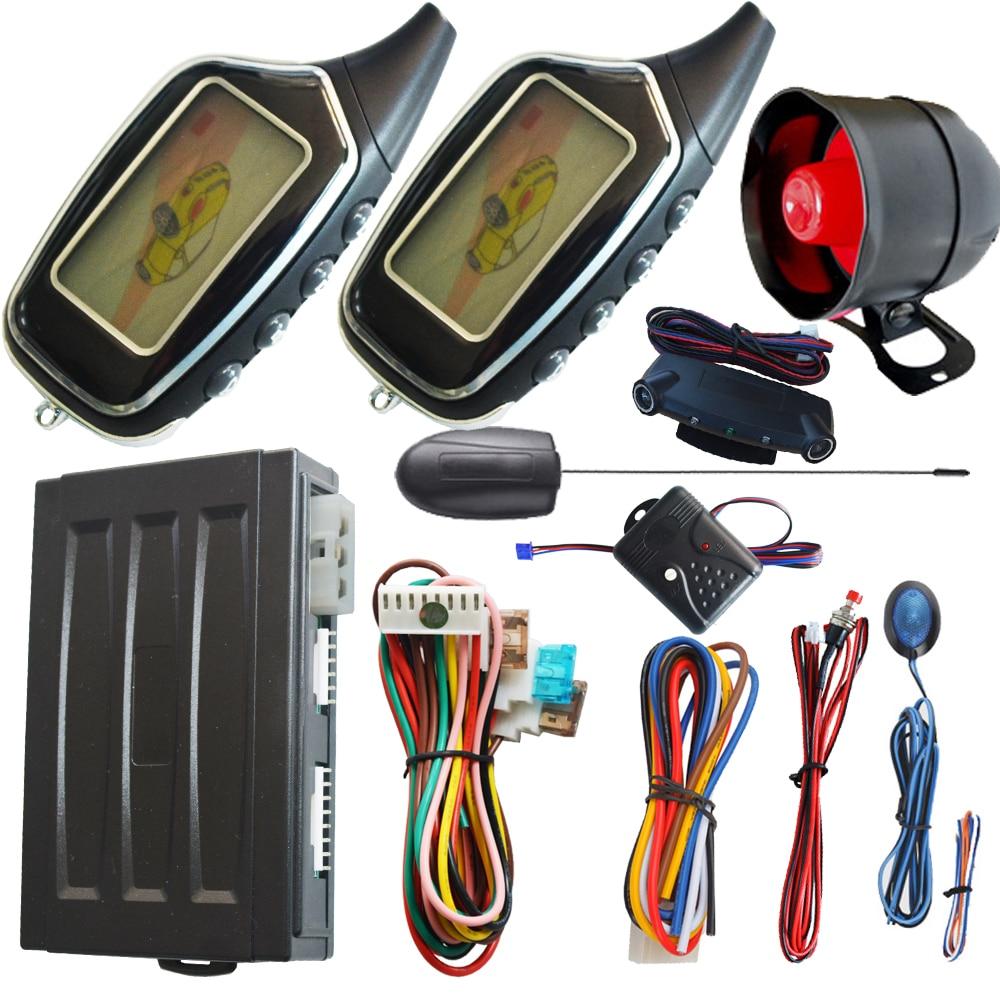 Système d'alarme de voiture automatique à distance de voiture de sécurité automatique avec alarme lcd alarme de capteur de choc à distance et protection d'alarme de mouvement démarrage à distance