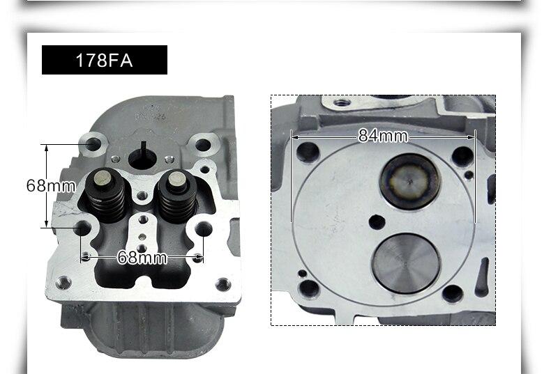 Accessoires de machine de travail du sol micro de générateur diesel refroidi par air d'automobile 170F 178F186FA188F assemblage de culasse de culasse