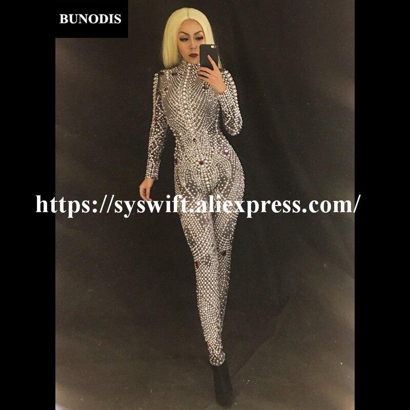 Pleine Usage Body Bu099 D'étape Style Femmes Et Dernière Strass Perles 2018 De Mousseux Nightsulbe Costume Bling Salopette BSOPXB
