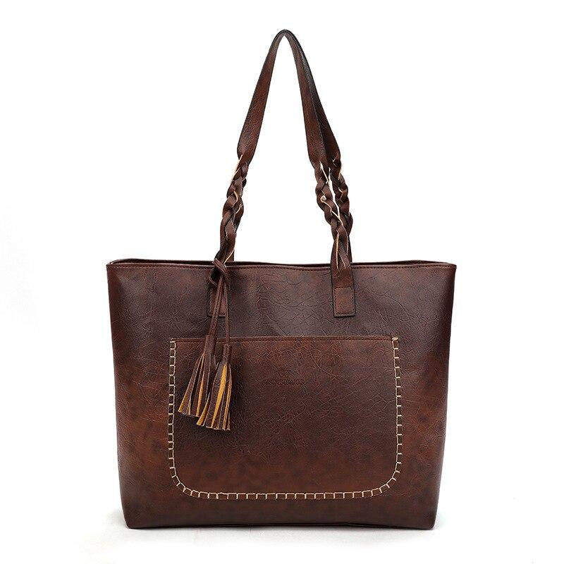 2018 Fashion Women PU Leather Bag Tassel Handbags Women Big Totes Bags High Quality Shoulder Bag
