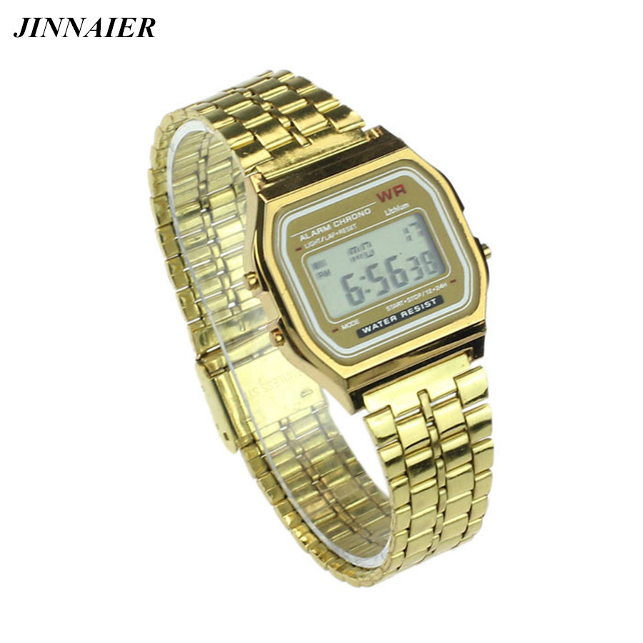 10 Units/lot Wholesales Hot Sales Fashion Women Men Watches Popular Gold Silver Ultra-thin Digital Stainless Steel Wristwatch