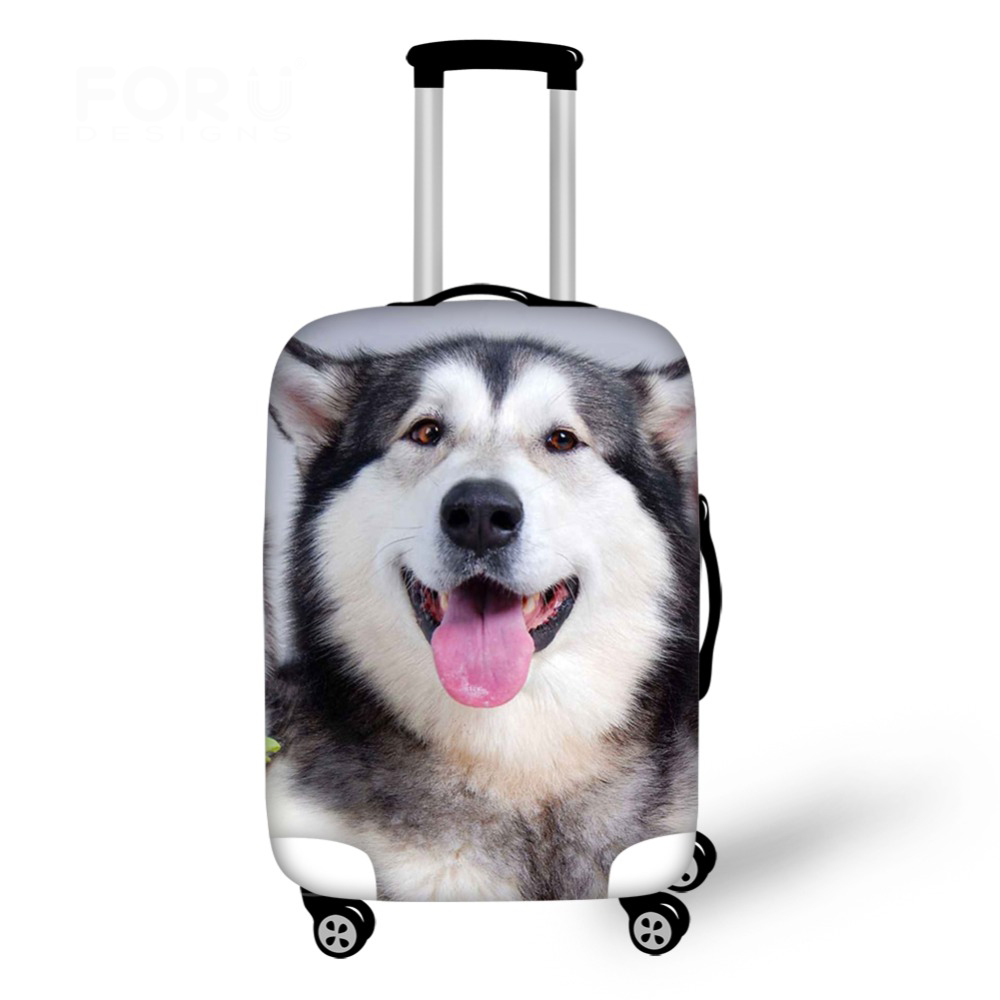 Travel Luggage Cover Cute Husky Dog Print 18-30 Inch Travel Case Cover Dust Elastic Dustproof Suitcase Covers B