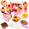 Набор кухонных игрушек  75 шт.  сделай сам  ролевые игры  фруктовая резка  день рождения  набор игрушек  игрушка Juguete  розовый  синий  подарок дл...