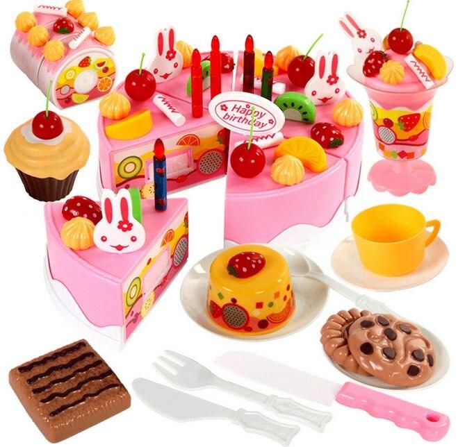 75 Pc BRICOLAGE Jeux de simulation de Fruits Gâteau D'anniversaire De Coupe Cuisine Jouets ensemble Alimentaire Juguete Jouet Rose Bleu Cadeau pour les Filles Enfants enfants