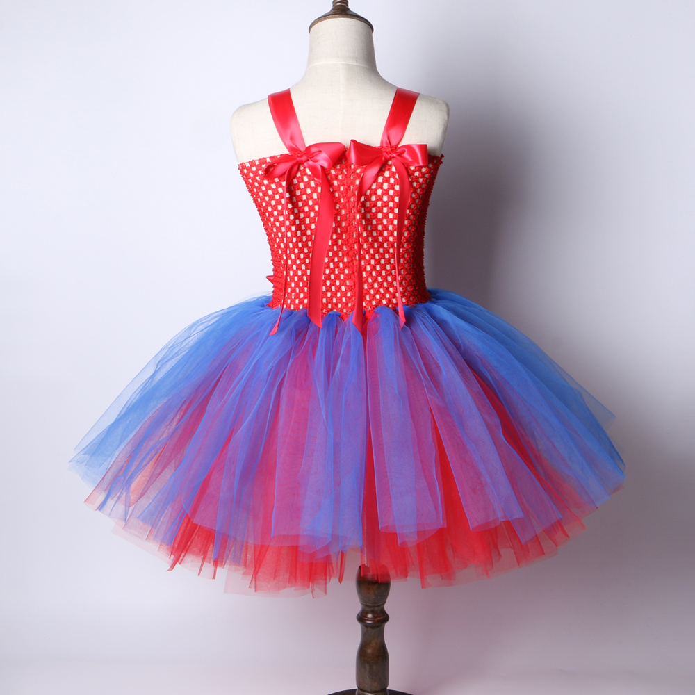 19c3e362f6325 Spiderman Girls Tutu Dress Red Blue Girl Birthday Party Dress Children Kids  Christmas Halloween Cosplay Superhero Costume 2 12Y-in Dresses from Mother  ...