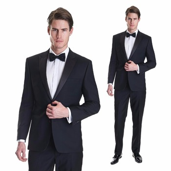 Custom Made Silm Fit Black Groom Tuxedos Tailcoat Best Man Suit Wedding Grooms 3 Piece Suits Men Suits (Jacket+Pants) W333