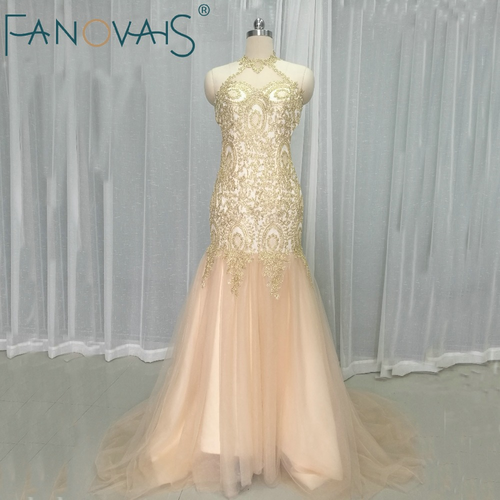2019 Sexy Mermaid Prom   Dresses   Long Halter Gold Lace Prom   Dress   Gowns Specail Occasion   Dresses     Evening     Dress   Plus Size