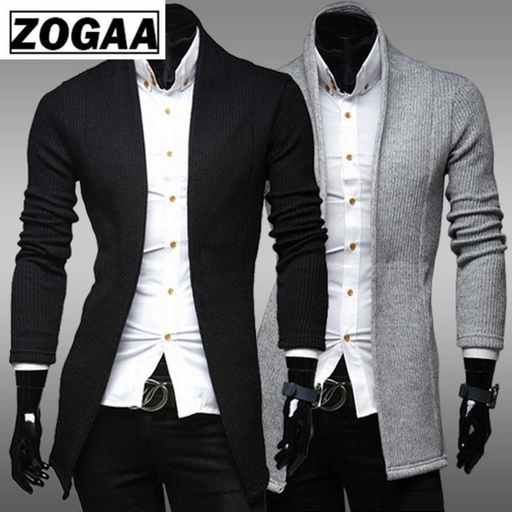 Zogaa Brand Mens Winter Sweaters Casual Simple Cardigan Sweater Full Lenghth Slim Fashion Design Sweater For Man Clothing 2018