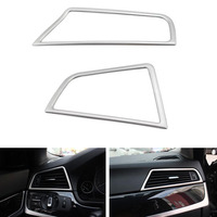 YAQUICKA 2x Stainless Steel Car Front Dashboard Side Air Outlet Vent Frame Trim Sticker For BMW