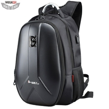 все цены на Motorcycle Backpack Carbon Fiber Waterproof Moto Motorbike Helmet Bags Travel Luggage Computer Bags USB Charging Plug онлайн