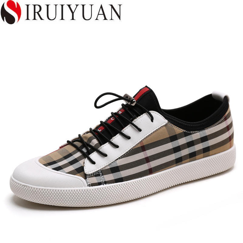 SIRUIYUAN 2017 Summer Fashion Luxury Brand Men Casual Shoes Laces Up Men Loafers Grid Moccasin Homme