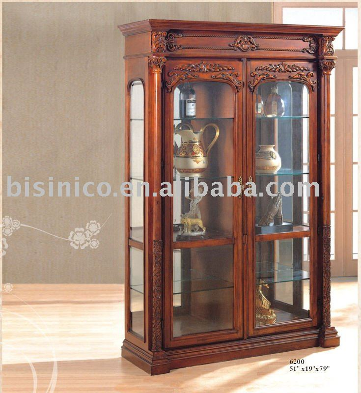 Superieur Antique Reproduction Wine Cabinet,solid Wood Wine Cabinet,glass Wine Cabinet