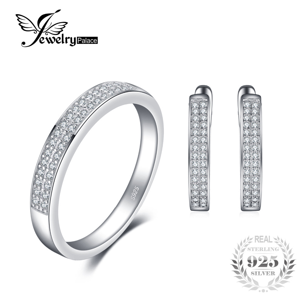 Jewelrypalace Fashion Engagement Band Ring Earring 925 Sterling Silver Wedding Jewelry Set Classic 925 Fine Jewelry For Women jewelrypalace classic wedding solitaire ring for women pure 925 sterling silver simple wedding jewelry fashion gift