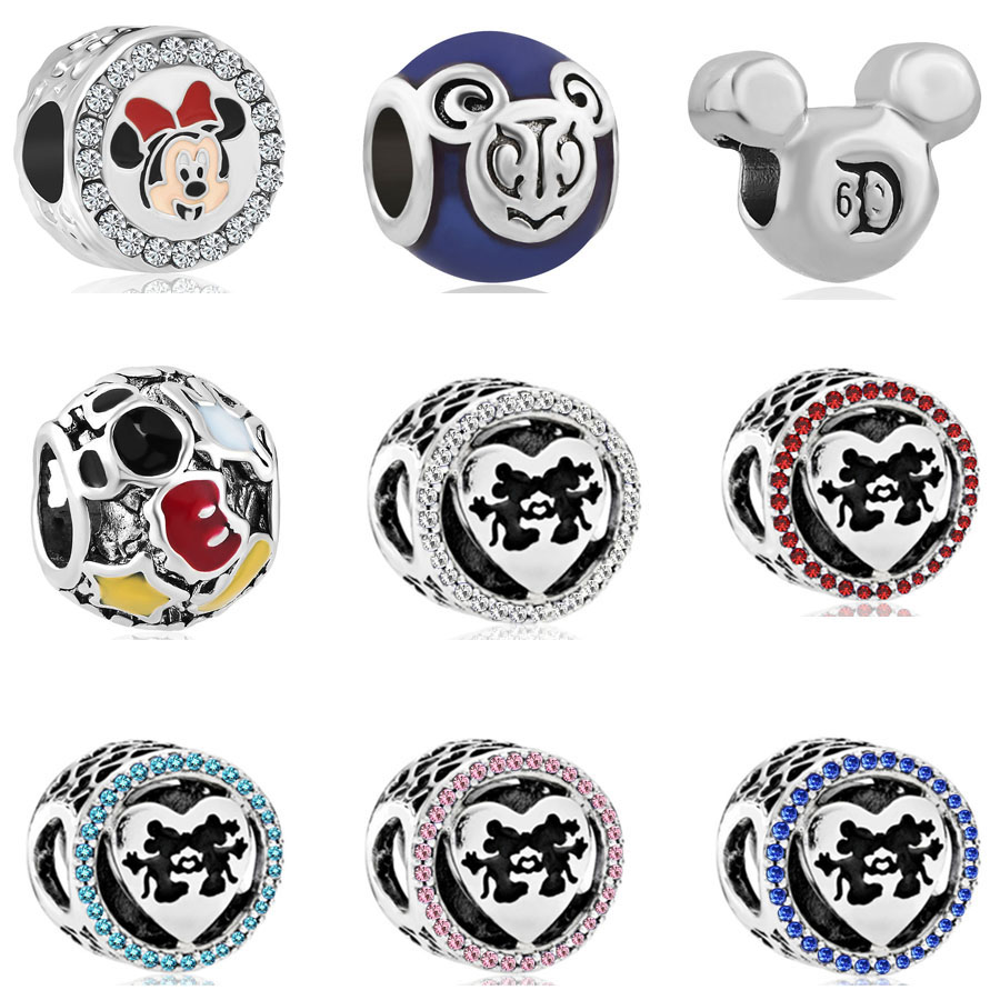 Pandora Jewelry Free Shipping: New Free Shipping 1pc European Silver Mickey Minnie Bead