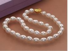 Women Gift Freshwater 7-8mm Genuine Natural Rice White Akoya Cultured Pearl ok GP Clasp Necklace