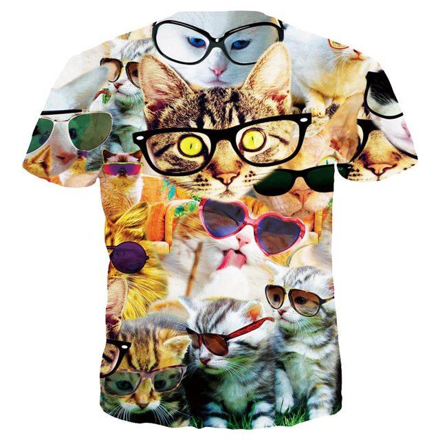 3D cat t-shirt hipster cats