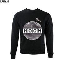 FORUDESIGNS 2018 Newest Men Hoodie Fluff No Hat Man S Sweatshirt Moon Print 3D Hoodies Mens