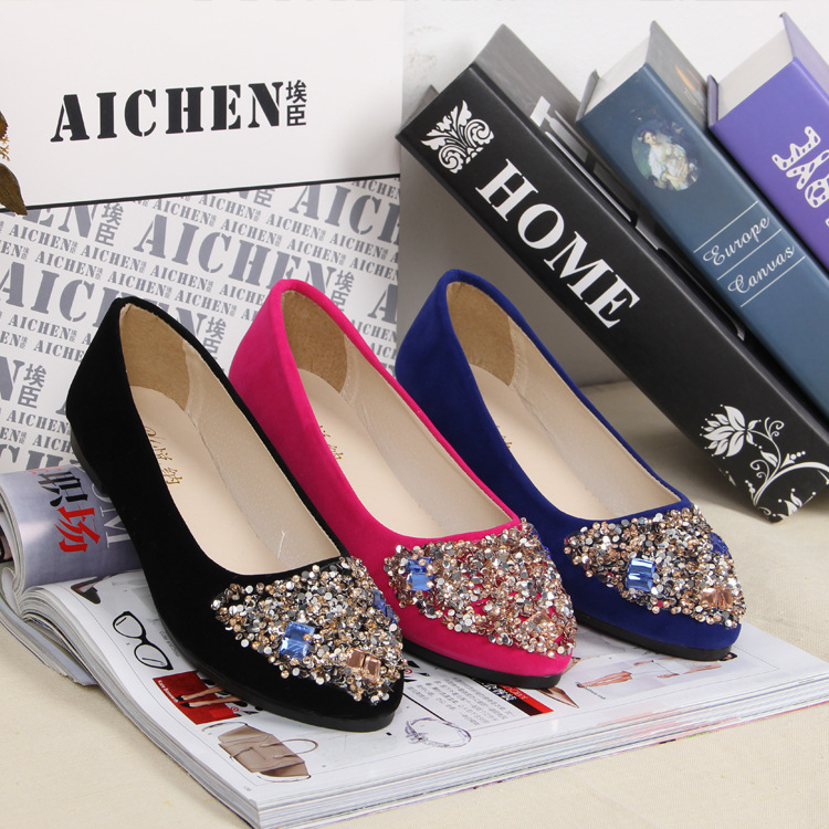 Spring autumn beading Suede leather women's Pisos flats shoes 2015 new fashion pointed toe casual women - Fashion Shop 7 store