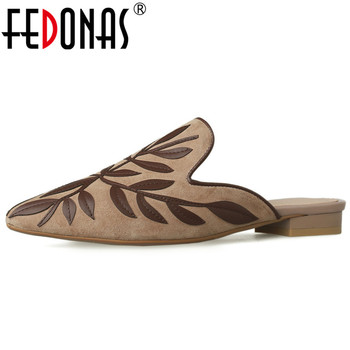 FEDONAS Brand 2020 Women Spring Summer Kid Suede Leather Pumps Pointed Toe Shoes Woman Female Casual Basic Sandals Rome Slippers