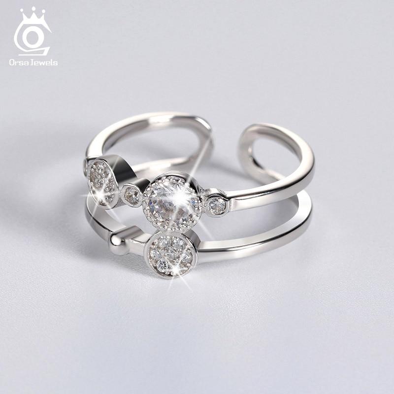 Orsa bijoux femme CZ Cristal Bande Anneaux 925 Argent Sterling De mariage Fiançailles