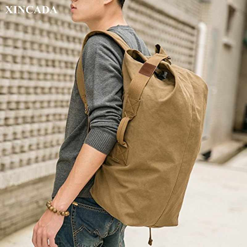 Xincada Duffle On Men Bag Capacity Travel Backpacks Vintage Large Carry Canvas Backpack Rucksack 0wOPN8nmyv