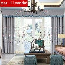 купить Modern pastorl luxury embroidered blackout Curtains for living room Bedroom cotton linen Elegant Window Treatment Curtain по цене 1823.67 рублей