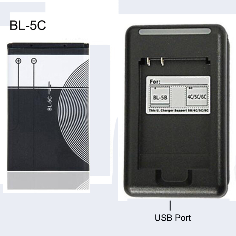 BL-5C Replacement Battery 1020mAh Original BL 5C Rechargeable Batteries + USB Charger For Nokia Mobile Phone Li-ion 3.7V BL5C