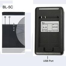 BL-5C wymienna bateria 1020mAh oryginalne akumulatory BL 5C + ładowarka USB do telefonu komórkowego Nokia Li-ion 3 7V BL5C tanie tanio HCQWBING DC01 Elektryczne