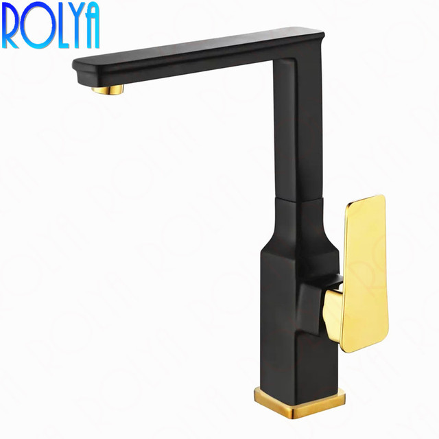 ROLYA Wholesale Solid Brass Single Hole Deck Mounted Black&Golden Kitchen Faucets Vessel Sink Mixer Taps
