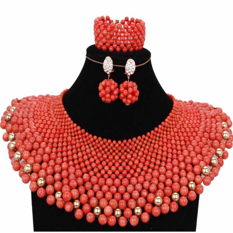 Bridal Jewelry Sets Nigerian Real Nature Orange Coral Beads Necklace Jewelry Set For Women Hand Braid Free Shipping 2018 New