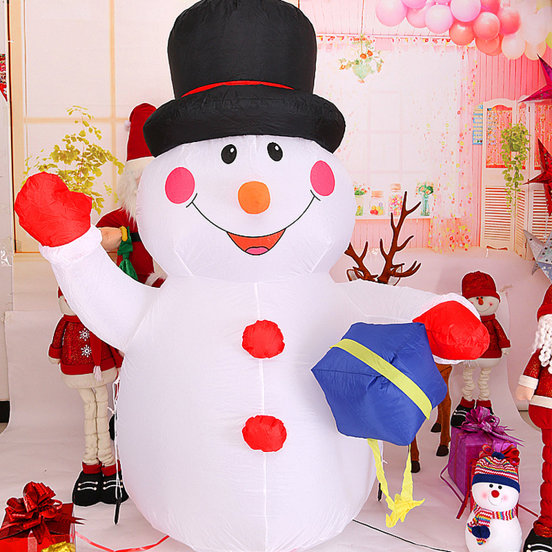 120cm 4ft Giant Snowman Inflatable Toys LED Lighted Christmas Halloween Oktoberfest Party Props Yard Outdoor Blow Up Decoration home decoration lighted inflatable jellyfish