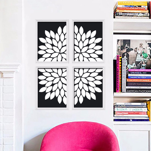 Burst petals mural set of four black white wall art canvas print picture modern oil painting