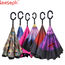 Check Price Windproof Reverse Closing Double Layer Inverted Umbrella and Inside Out Upside Down Rain Protection Travel Umbrella