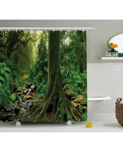 Forest Shower Curtain Moss On Trees Stream Print For BathroomWaterproof And Washable Fabric With Hooks