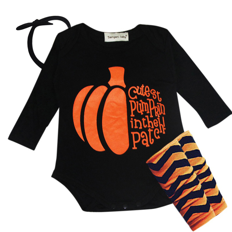 Long Sleeves Baby Halloween Pumpkin Clothes Bodysuits For Boys Girls Cotton Infant Toddler Kids Summer Trendy