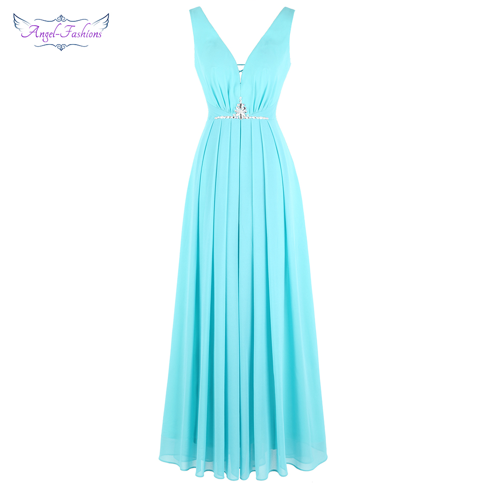 Angel-fashions Women's V Neck Ruched Chiffon Beading Lace Up A-Line Long Evening Dress Light Blue J-190101-S